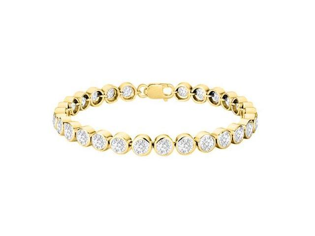 CZ Tennis Bracelet in 18K Yellow Gold Vermeil Sterling Silver 25 Carat AAA Quality CZ Bezel Set