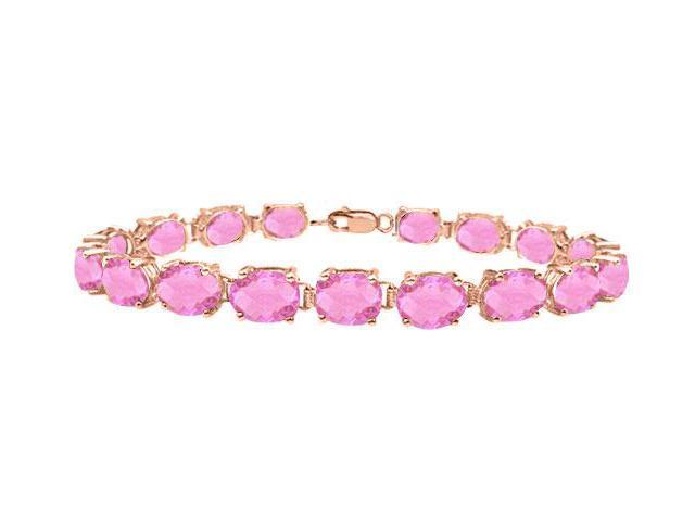 Bracelets Tennis Created Pink Topaz Oval Set in 14K Rose Gold Vermeil. 15CT. TGW 7 Inch
