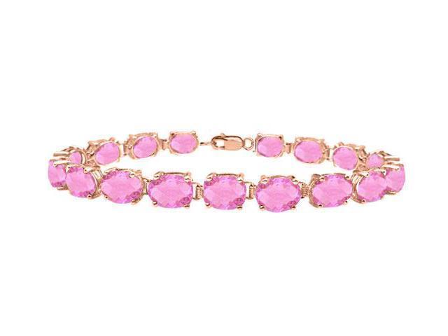 Bracelets Tennis Created Pink Topaz Oval Set in 14K Rose Gold Vermeil. 15CT. TGW 7 Inch