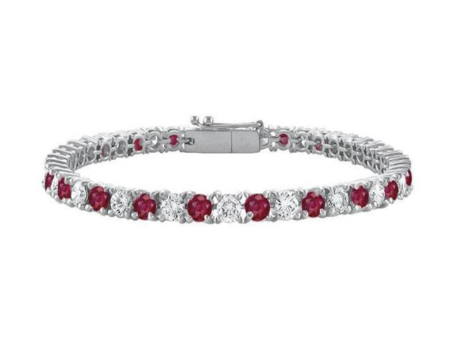GF Bangkok Ruby and Cubic Zirconia Prong Set 10K White Gold Tennis Bracelet 7.00 CT TGW
