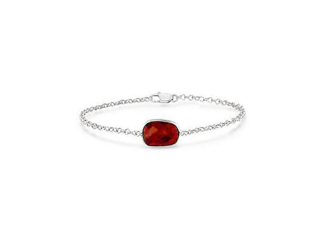 Simulated Ruby Bracelet in Rhodium Plating 925 Sterling Silver Chain of 8.50 Total Gem Weight