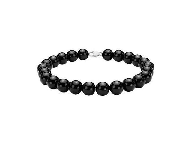 Black Onyx 7 Inch Bracelet with Rhodium Treated .925 Sterling Silver Lock 6 MM