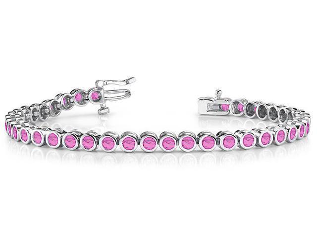 Classic Bezel Set Created Pink Sapphire Tennis Bracelet. 32.ct.tw.