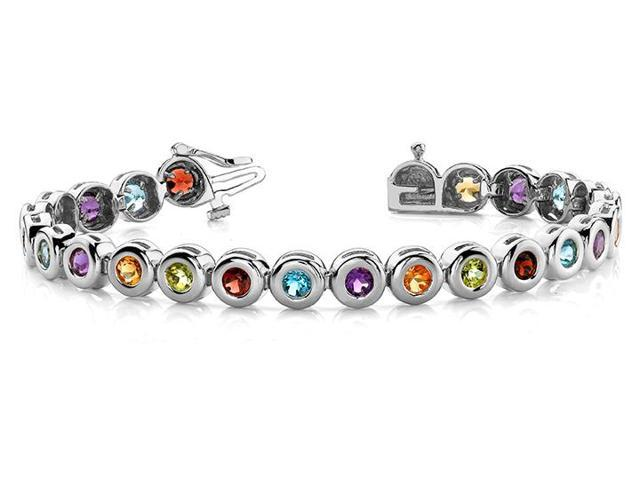 Created Multi Color Tennis Bracelet in 14K White Gold. 10.50 ct.tw.