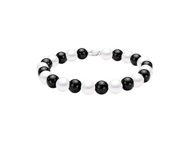 Rhodium Treated .925 Sterling Silver with Black Onyx  and Mother of Pearl Bracelet 7 Inch Length
