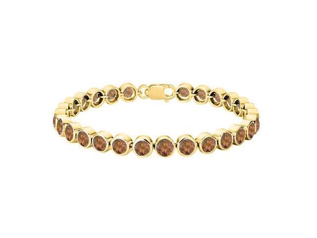 18K Yellow Gold Vermeil Sterling Silver Smoky Topaz Tennis Bracelet Twenty Five Carat Bezel Set