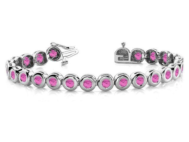 Created Pink Sapphire Tennis Bracelet in 14K White Gold. 10.50 ct.tw.
