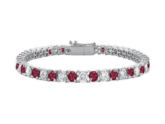 Sterling Silver Round GF Bangkok Ruby and Cubic Zirconia Tennis Bracelet 10.00 CT TGW