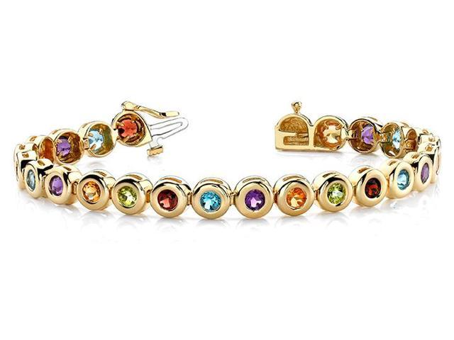 Created Multi Color Tennis Bracelet in 14K Yellow Gold. 10.50 ct.tw.