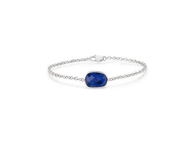 Simulated Blue Sapphire Bracelet in Rhodium Plating 925 Sterling Silver 8.50 Carat Totaling