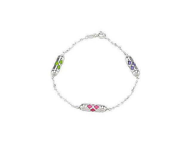 Rhodium Plating .925 Sterling Silver Make It Happen Lantern Youth  Bracelet in 7.25 Inch Length