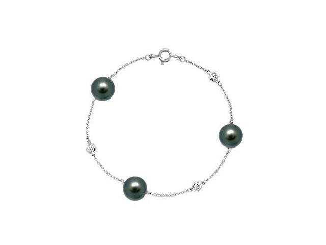 Diamond and Cultured Tahitian Pearl Bracelet  14K White Gold - 0.15 CT Diamonds