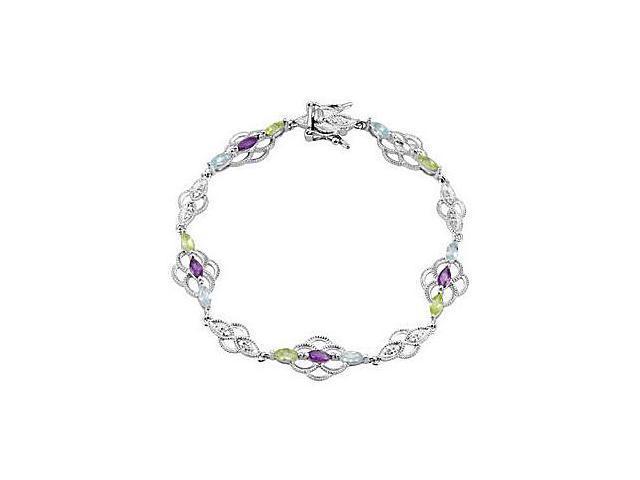 Multi color Gemstone Bracelet in Rhodium Plating .925 Sterling Silver 1.80 Carat TGW