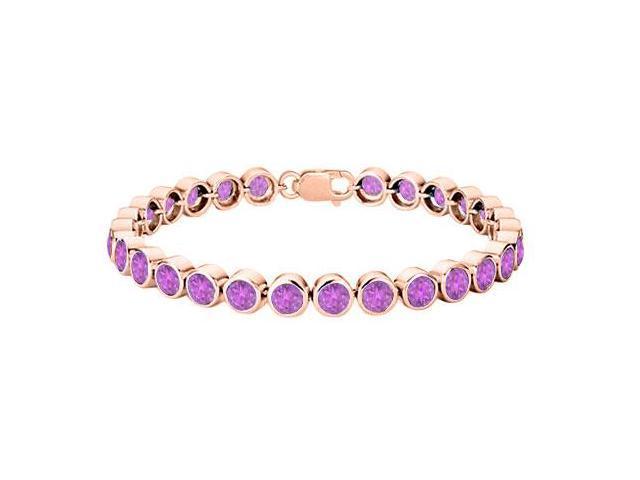 Bezel Set Amethyst Tennis Bracelet in 14K Rose Gold Vermeil Sterling Silver 25 Carat Totaling