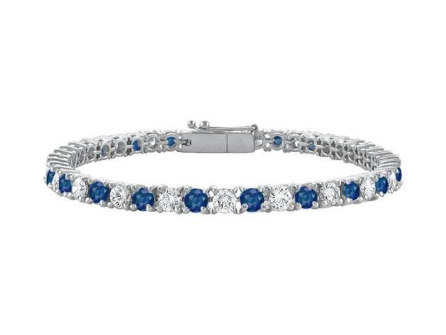 Sterling Silver Round Diffuse Sapphire and Cubic Zirconia Tennis Bracelet 5.00 CT TGW