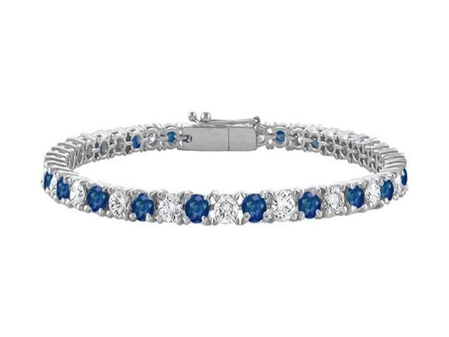 Sterling Silver Round Diffuse Sapphire and Cubic Zirconia Tennis Bracelet 10.00 CT TGW