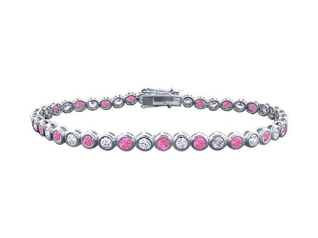 Pink Sapphire and Diamond Tennis Bracelet  Platinum  4.00 CT TGW