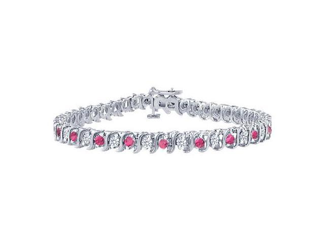 Pink Sapphire and Diamond S Tennis Bracelet  Platinum  4.00 CT TGW