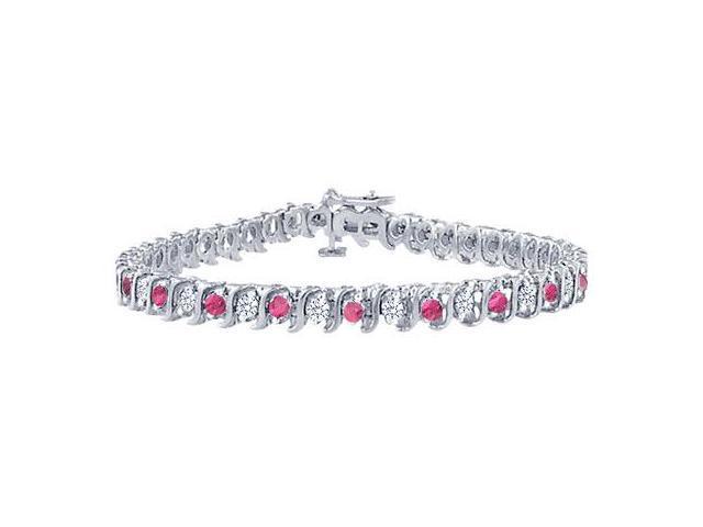 Pink Sapphire and Diamond S Tennis Bracelet  Platinum  4.00 CT TGW