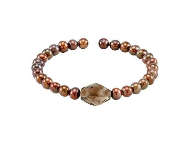 Smoky Quartz  Cultured Freshwater Pearl Cuff 7.5 Inch Bracelet - .925 Sterling Silver