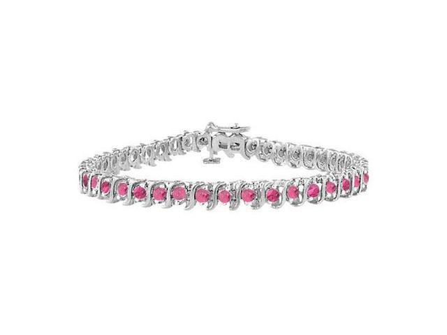 Pink Cubic Zirconia S Tennis Bracelet  925 Sterling Silver - 3.00 CT TGW