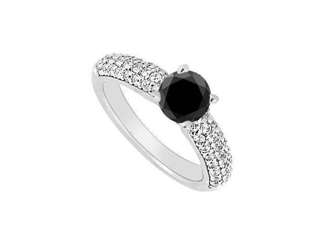14K White Gold  Black and White Diamond Engagement Ring 1.10 CT TDW