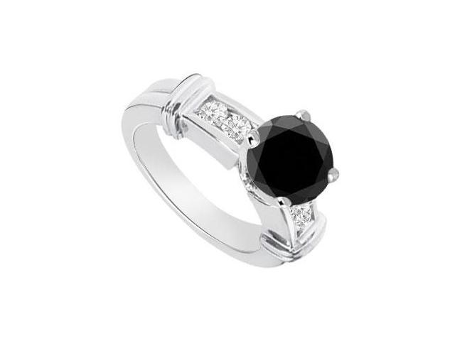 Black  White Diamond Engagement Ring 14K White Gold  0.66 CT TDW