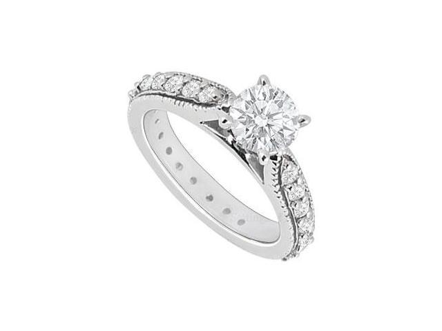 14K White Gold  Diamond Engagement Ring 0.85 CT TDW
