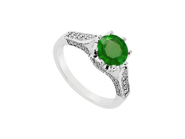 May Birthstone Created Emerald and CZ Milgrain Engagement Ring in 14K White Gold 1 CT TGW