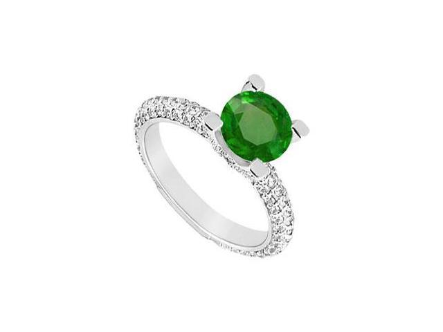 May Birthstone Created Emerald  CZ Engagement Ring in 14K White Gold 1.50 CT TGW