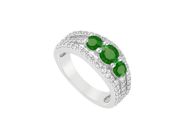 May Birthstone Created Emerald  CZ Three Stone Engagement Ring 14K White Gold 2.25 CT TGW