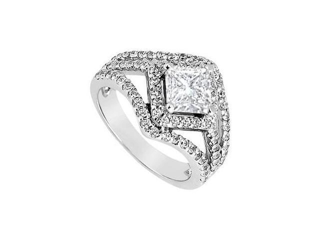 Semi Mount Engagement Ring in 14K White Gold 1.00 Carat Diamonds Center Diamond Not Included