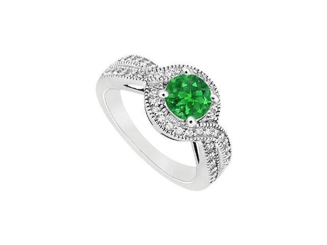 May Birthstone Created Emerald and CZ Halo Engagement Rings in 14K White Gold 1 CT TGW