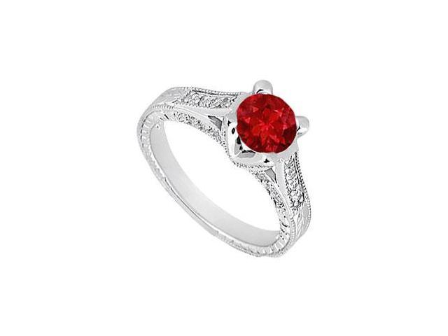 Created Ruby and CZ Engagement Ring in 14kt White Gold 1.00.ct.tgw