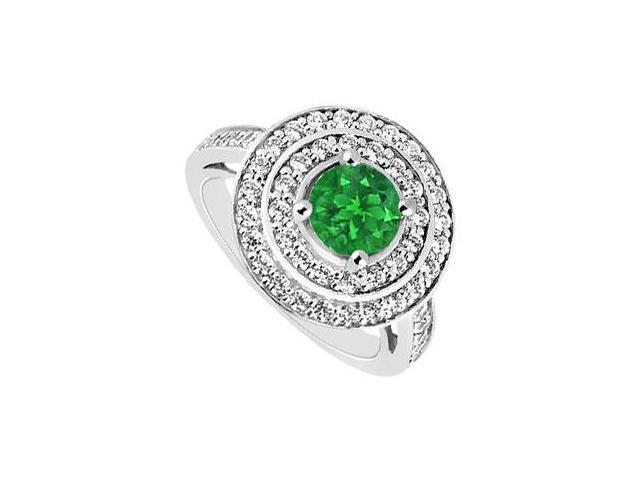 May Birthstone Created Emerald Halo Engagement Rings in 14K White Gold 1 CT TGW