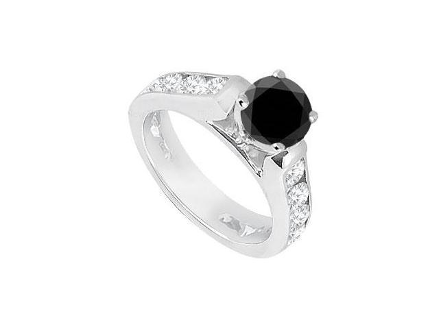 Black  White Diamond Engagement Ring 14K White Gold  1.10 CT TDW