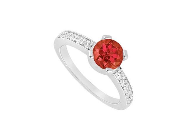 Four Prong Set Created Ruby and CZ Engagement Ring in 14kt White Gold 1.00.ct.tgw