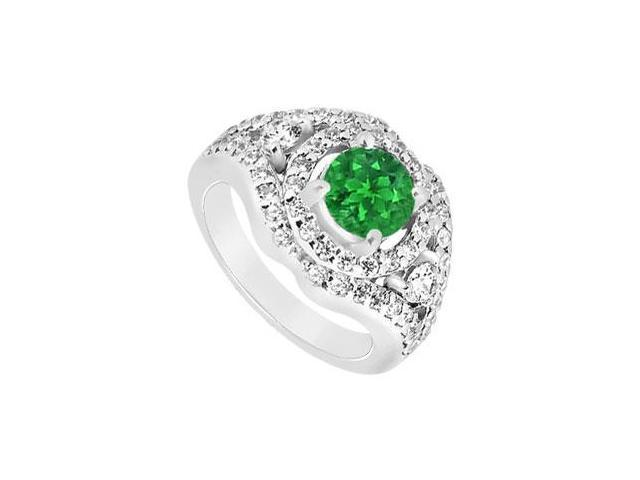 May Birthstone Created Emerald and CZ Wide Band Engagement Rings in 14K White Gold 1.50 CT TGW