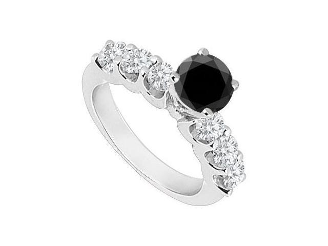 14K White Gold  Black and White Diamond Engagement Ring 0.80 CT TDW