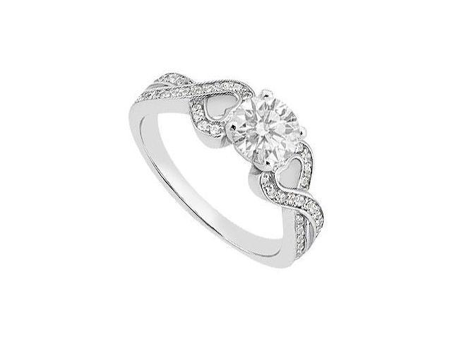 14K White Gold Heart Diamond Engagement Ring of 0.80 Carat Diamonds