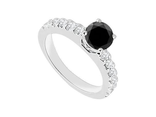 14K White Gold  Black Diamond Engagement Ring 1.00 CT TDW