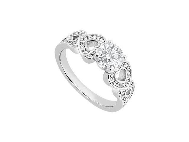 Diamond Engagement Ring with Side Heart in 14K white Gold of 0.65 Carat Diamonds
