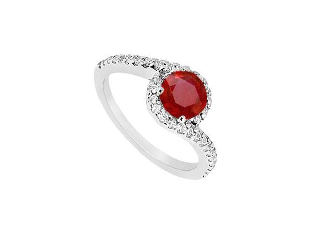 Created Ruby and CZ Halo Engagement Ring in 14kt White Gold 1.00.ct.tgw