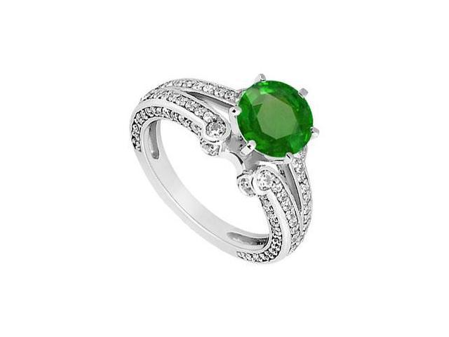 May Birthstone Created Emerald and CZ Engagement Rings in 14K White Gold 1.75 CT TGW
