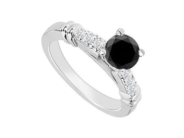 14K White Gold  Black Diamond Engagement Ring 0.60 CT TDW
