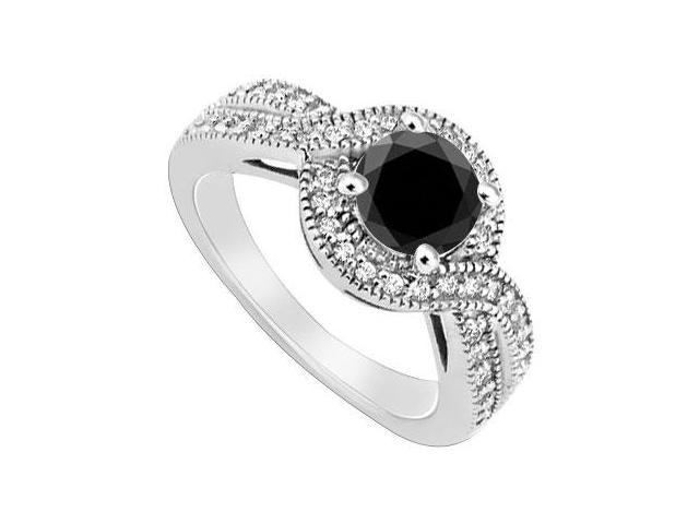 Black Diamond Halo Engagement Ring  14K White Gold 1.33 CT TGW
