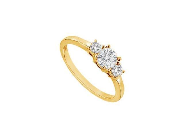 Three Stone Diamond Engagement Ring  14K Yellow Gold - 0.75 CT Diamonds
