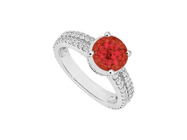 Multirow Created Ruby and CZ Engagement Ring in 14kt White Gold 1.00.ct.tgw