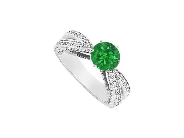 May Birthstone Created Emerald and CZ Motif Engagement Ring 14K White Gold 1.50 CT TGW