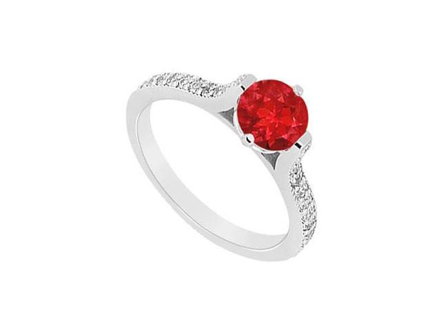 Semi Mounting Created Ruby and CZ Engagement Ring in 14K White Gold 0.75.ct.tgw